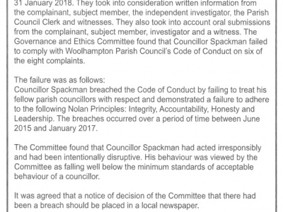 WBC Governance and Ethics Committee findings into complaints made against Woolhampton Parish Councillior Mr J. Spackman